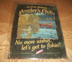 Official Member Angler's Club Fishing Tin Sign Wild Wimgs