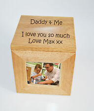 Foto de madera de Roble Personalizado Caja Caja Cubo recuerdo grabado-Daddy & Me