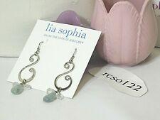 "Beautiful Lia Sophia ""SOMERSAULT"" Dangle Earrings, Genuine Jade, NWT"