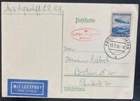 1936 Friedrichshafen Germany Hindenberg Zeppelin LZ 129 Postcard cover To Berlin