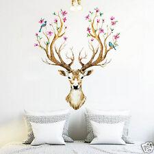 3D Plum Flower Deer Wall Stickers Art Living Room Home Decal Mural