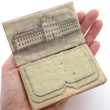 19th c. Silk Needlebook Case ~ Engraved Print N.E.Y.M.B. School, Providence, RI