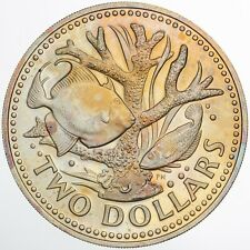 1973 BARBADOS 2 DOLLARS PROOF BU CHOICE UNC GORGEOUS TONED COLOR (DR)