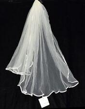 2 Tier Fingertip Wedding Veil with Satin Border & Hair Comb by Weddingstar NWT