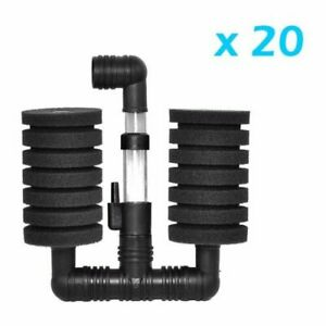 20 pcs Bio Sponge Filter Betta Fry Aquarium Fish Tank Double Sponge (S) XY-2831