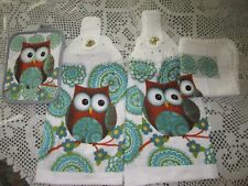 4-PC. HANGING KITCHEN TOWELS+ OWL GREAT GIFT* CROCHETED TOPS **NEW GREAT GIFT