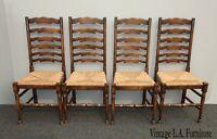 Vintage Set of Four French Country Ladderback Dining Chairs w Cushions