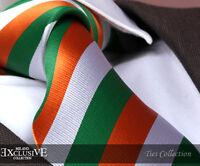 ORANGE, GREEN, WHITE STRIPE SILK TIE/HANKY (Irish/Ireland) - ITALIAN DESIGNER Mi