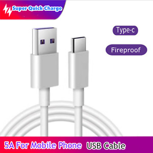 Super Quick Charge 5A USB Type C Cable Fast Charging Mobile Phone Data Cable 1M