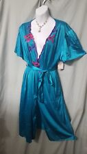 VENTURA SEXY TEAL NYLON ROBE WITH COLORED APPLIQUE-SIZE 1X GIFT