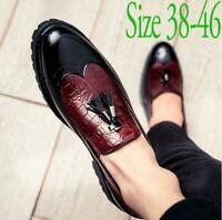 Mens British Casual Patent Leather Tassels Thick Sole Slip On Pointed Toe Shoes