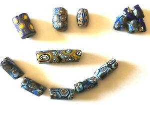 Millefiori Glass Beads Assorted Blue Yellow Italian African Trade Craft Beads