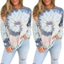 Women Tie Dye Casual Long Sleeve Sweater Pullover T Shirt Top Winter Outwear US