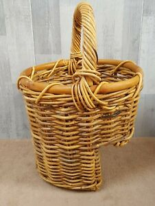 Vintage Wicker Stair Basket Step Sturdy Chunky Country Cottage Storage Rustic