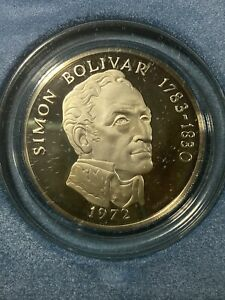 1972 Panama 20 Balboas Proof Silver Coin - 3.85 oz .925 Sterling Silver