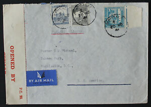 Palestine Jerusalem 1941 To United States, High Franking Censored Cover  #a429