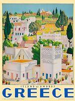"Greece Islands Vintage Illustrated Travel Poster Print art  painting 36"""
