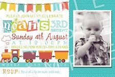 Personalised Boys Photo Bunting Train Birthday Party Invite Invitation