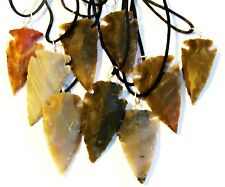 "5 Hand Knapped  Agate Arrowheads on a  20"" 2mm Leather Necklace Cord"