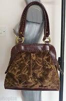 Poetry of London Brown Velvet Beaded Real Leather Boho Handbag Bag New