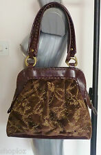 Poetry of London Brown Velvet Beaded Real Leather Boho Handbag Bag New