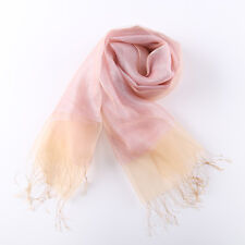 Silk and Viscose Organza Shawl Wrap Scarf Pink with Silver Threads COT606