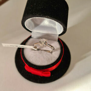 Stunning Diamond Solitaire Ring in platinum over Sterling Silver