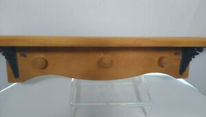 "Wood Decorative Shelf Vintage Coat Hooks 21"" x 6"" Shelf Black Metal Flower"