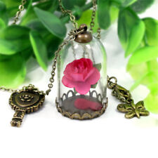 Chain Necklace Pendant Beauty and the Beast Real Rose Dried Flower Glass Bottle