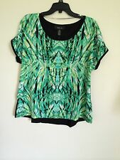 NWT Style & Co. Women's Dolman Slv Top Green Front / Black Back   M to XL    A1