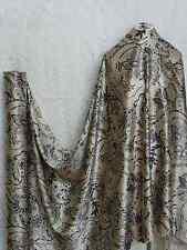 100 Silk Charmeuse Stretch Fabric Paisley Gray Ivory S 005 per Yard