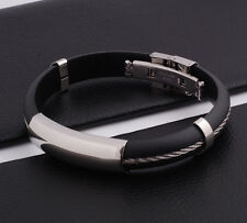 "Unisex Men Women's Stainless Steel Rubber Silicone Bracelet Black 8"" G29"