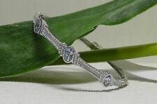 $525 NEW Judith Ripka Sterling Silver/Blue Quartz Station Bangle Bracelet.