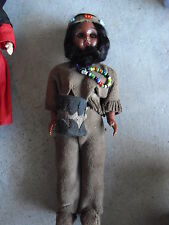 "Vintage 1960s Plastic Indian Girl Character Girl Doll 7 1/4"" Tall"