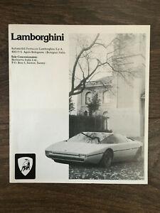 Lamborghini UK Market Brochure Urraco Jarama Espada Bravo Countach 1974-75