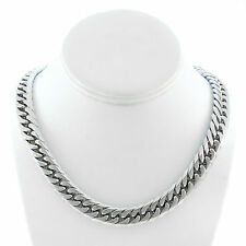 SOLID STAINLESS STEEL SILVER FINISH THICK HEAVY MIAMI CUBAN LINK CHAIN 13MM JayZ