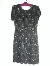 VINTAGE  BLACK 100% SILK BEADED SEQUINNED DRESS BY SIMON ELLIS SIZE 12