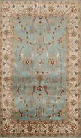 Classic Floral Light Blue Agra Oushak Chobi Oriental Area Rug Hand-knotted 4'x6'