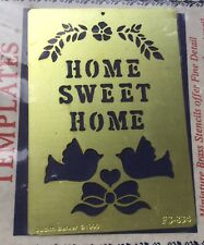 Solid Brass Home Sweet Home Mini Template For Stenciling Embossing Stationary