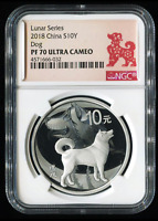 CHINA Silver Coin 10 Yuan 2018, Lunar Series - Dog, NGC PF 70