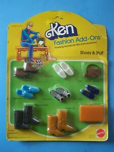 1978 BARBIE's KEN FASHION ADD-ONS 4 SHOES 3 BOOTS ATTACHE  BELT TIE TOTE NEW MOC