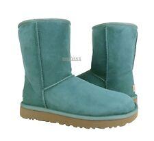 UGG Classic Short II Coastal Green Suede Fur Boots Womens Size 7 *NIB*