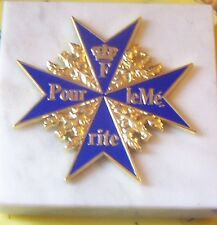 German Prussian Officer Blue Max Pour Cross Medal Desk Paperweight Marble Merit