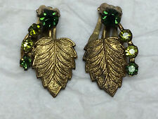 Vintage Clip-On Earrings Ornate Leaf Design Rhinestones Green Made Austria