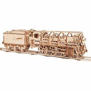 NEW UGears UTG0011 460 Locomotive w/ Tender Mechanical Wooden 3D Model Train Kit
