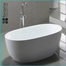 Freestanding Bath 1400 Compact Acrylic White Round Modern Bathtub
