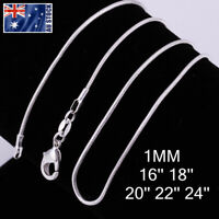 Wholesale 925 Silver Filled 1MM Classic Snake Necklace Chain Bulk Price 16 - 24""