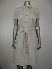 Charter Club Women's Mini Striped Sand & White Pocket Shirt Dress 6