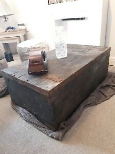 Old CHEST, ANTIQUE Wooden Blanket TRUNK Coffee TABLE, Vintage Storage BOX