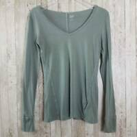 Gap Womens Feather T-Shirt Green Long Sleeves V-Neck Stretch Cotton Blend Tee XS